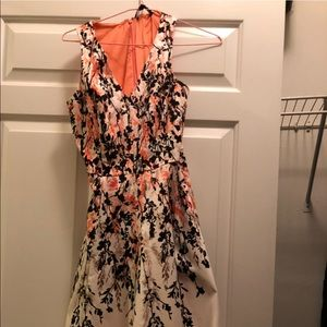 Petite Floral Printed Hi-Lo Fit and Flare Dress